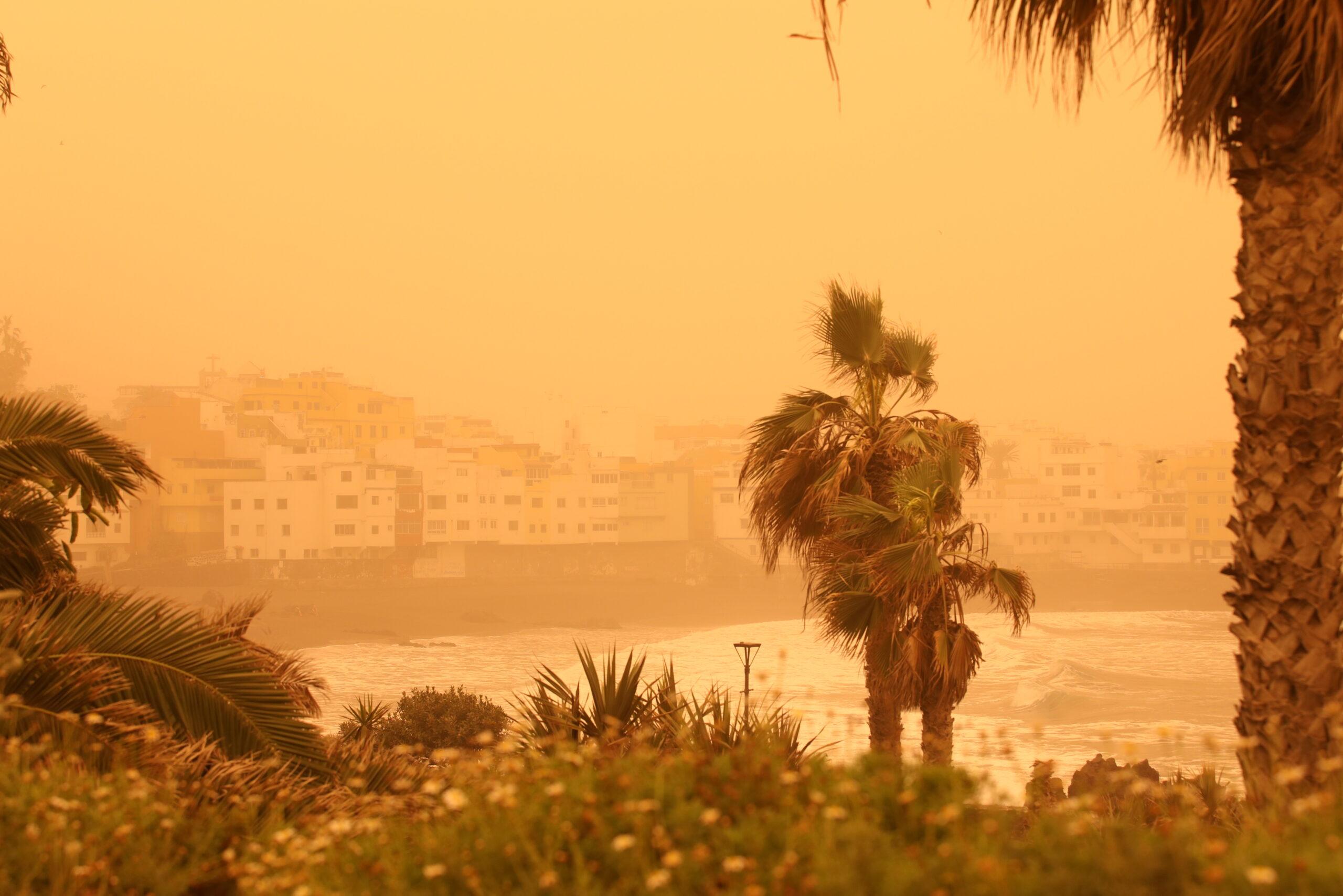 Песчаная буря на пляже Канарского острова